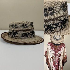 Accessories - Festival Hat Aztec Tribal Design Woven Fedora